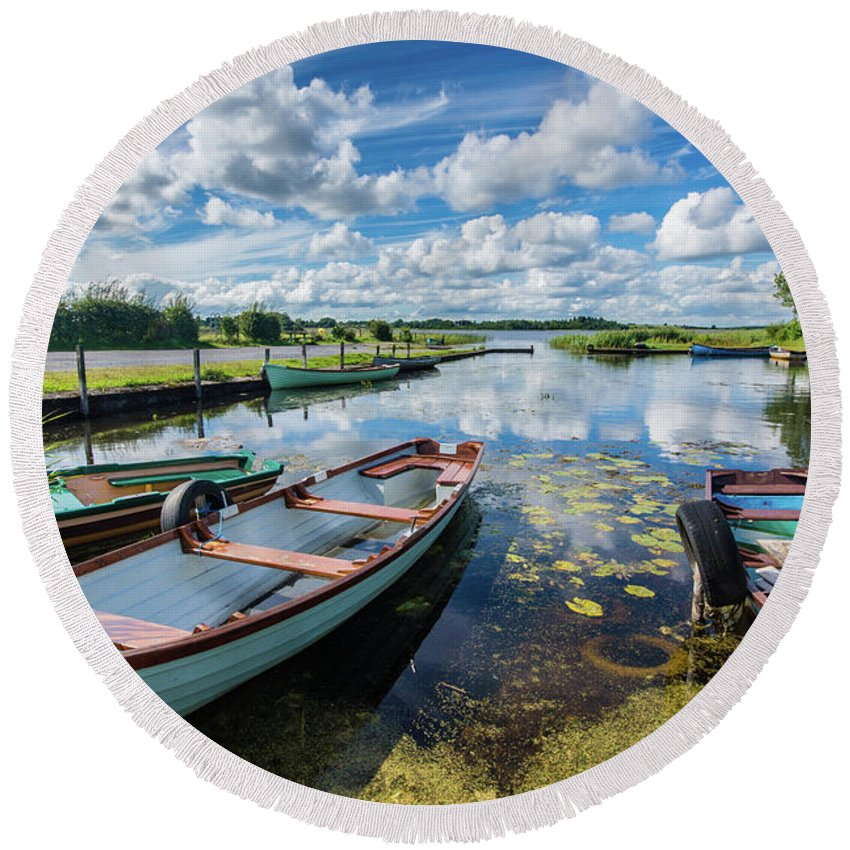 Landscape Round Beach Towel featuring the photograph Lough O'Flynn, Roscommon, Ireland by Anthony Lawlor