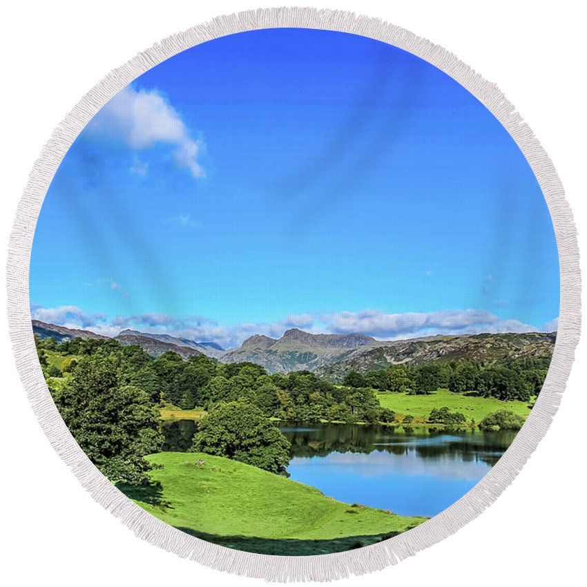 Loughrigg Tarn Round Beach Towel featuring the photograph Loughrigg Tarn by Philip Salisbury