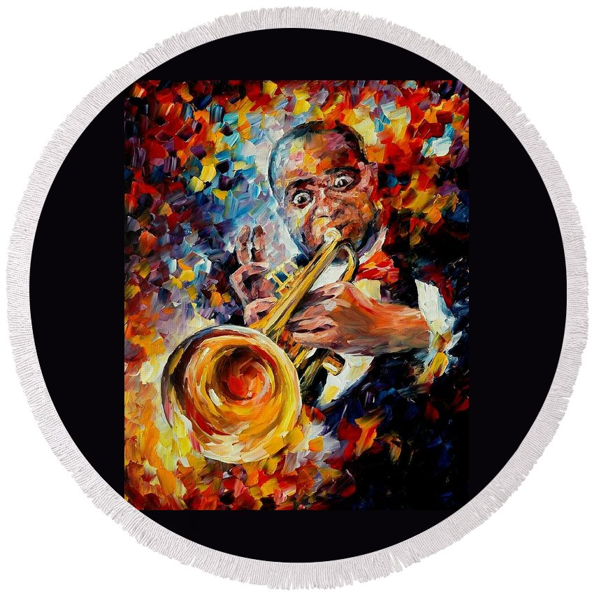 Music Round Beach Towel featuring the painting Louis Armstrong by Leonid Afremov