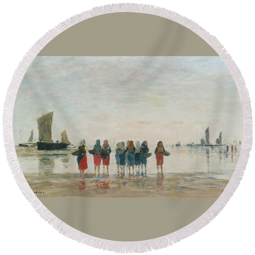 Eugène-louis Boudin (french Round Beach Towel featuring the painting Louis Boudin by MotionAge Designs
