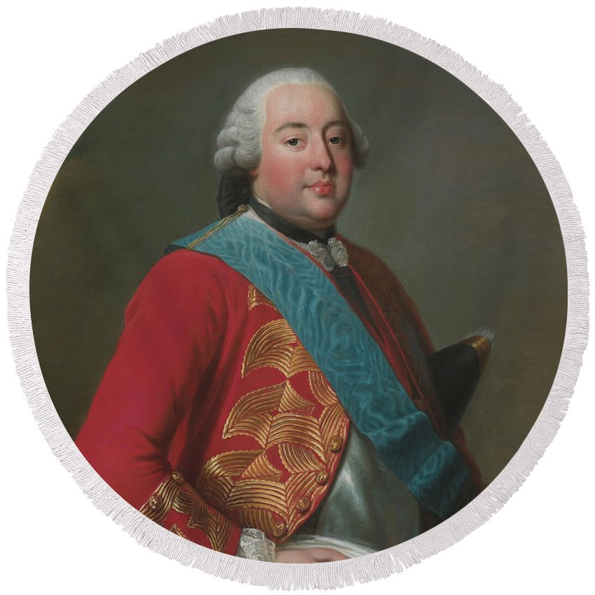 Swedish Artist Round Beach Towel featuring the painting Louis Philippe D'orleans As Duke Of Orleans by Alexander Roslin