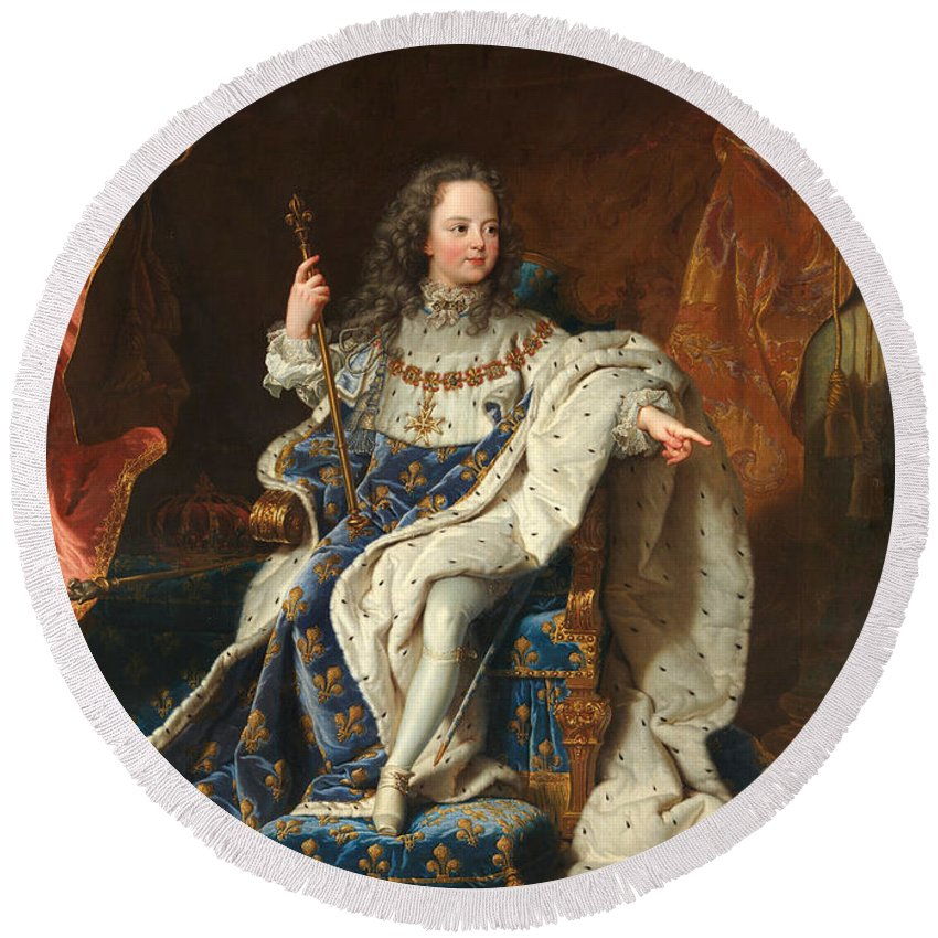 Hyacinthe Rigaud Round Beach Towel featuring the painting Louis Xv Of France As A Child by Hyacinthe Rigaud