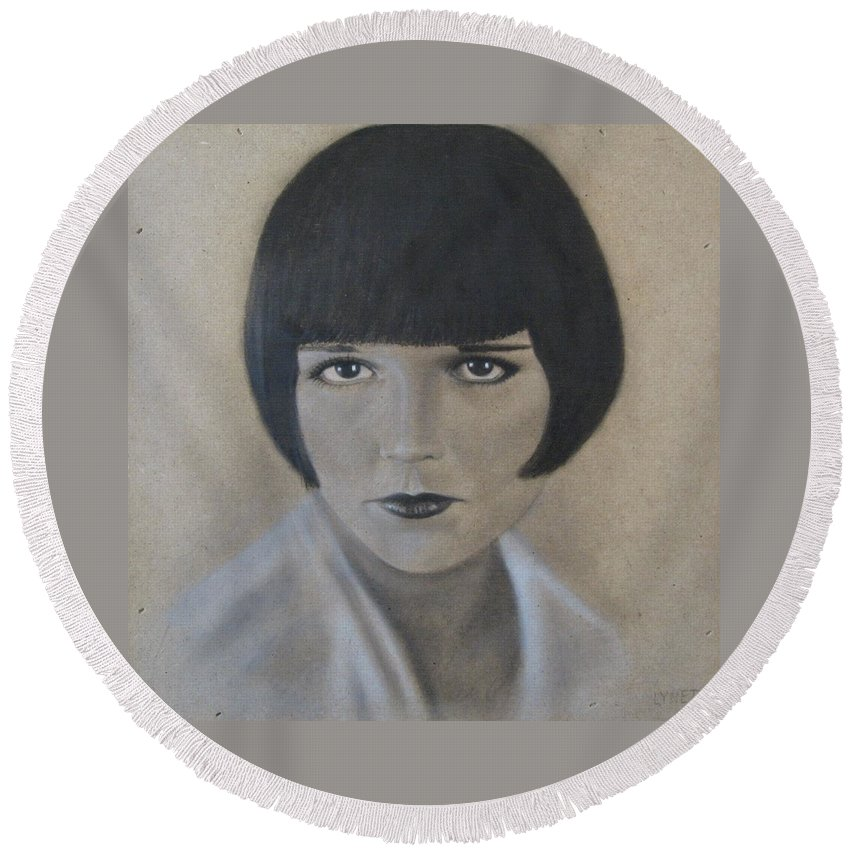 Woman Round Beach Towel featuring the painting Louise by Lynet McDonald
