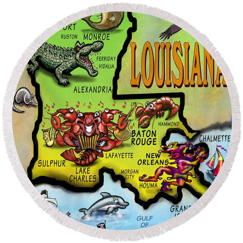 Louisiana Round Beach Towel featuring the digital art Louisiana Cartoon Map by Kevin Middleton