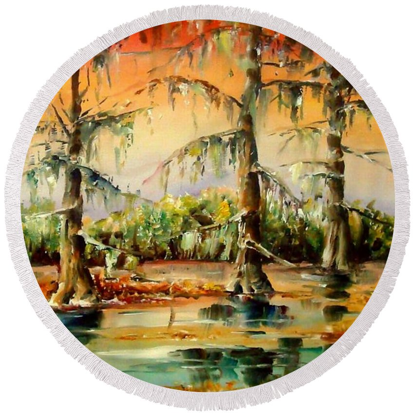 Louisiana Round Beach Towel featuring the painting Louisiana Swamp by Diane Millsap