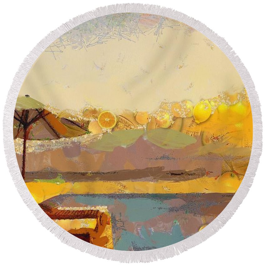 Lounging Licous Round Beach Towel featuring the digital art Lounging Licous by Catherine Lott