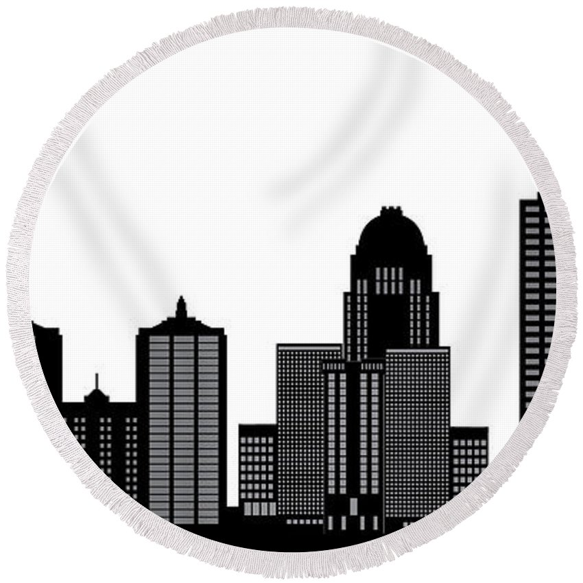 Architecture Round Beach Towel featuring the photograph Lousivile Skyline by Compuinfoto