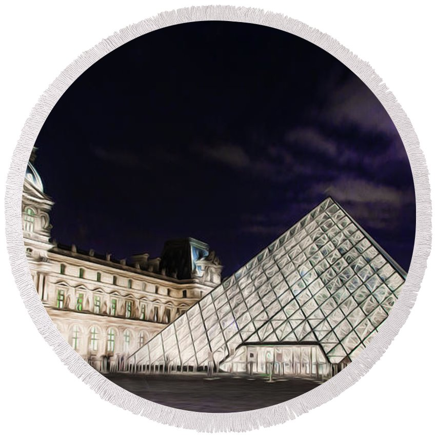 Paris Round Beach Towel featuring the photograph Louvre Museum 2 Art by Alex Art and Photo