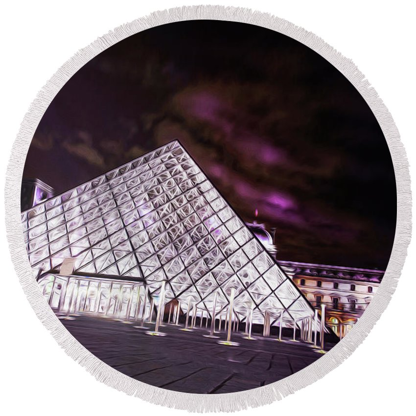 Paris Round Beach Towel featuring the photograph Louvre Museum 5 Art by Alex Art and Photo
