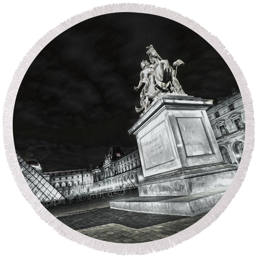 Paris Round Beach Towel featuring the photograph Louvre Museum 7 Art Bw by Alex Art and Photo