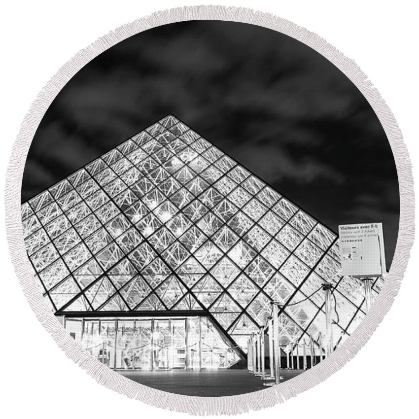 Paris Round Beach Towel featuring the photograph Louvre Museum Bw by Alex Art and Photo