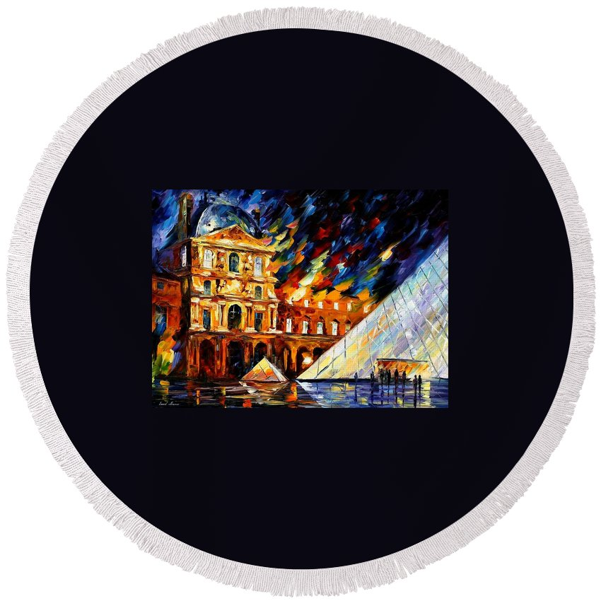 Afremov Round Beach Towel featuring the painting Louvre Museum by Leonid Afremov