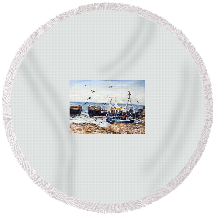 Landscape Round Beach Towel featuring the painting lov by Pablo de Choros