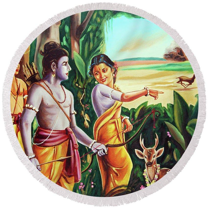History- Ramayana Round Beach Towel featuring the painting Love And Valour- Ramayana- The Divine Saga by Ragunath Venkatraman