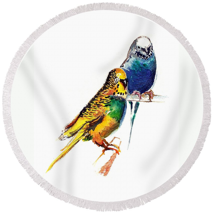 Nature Round Beach Towel featuring the painting Love Birds by Anil Nene