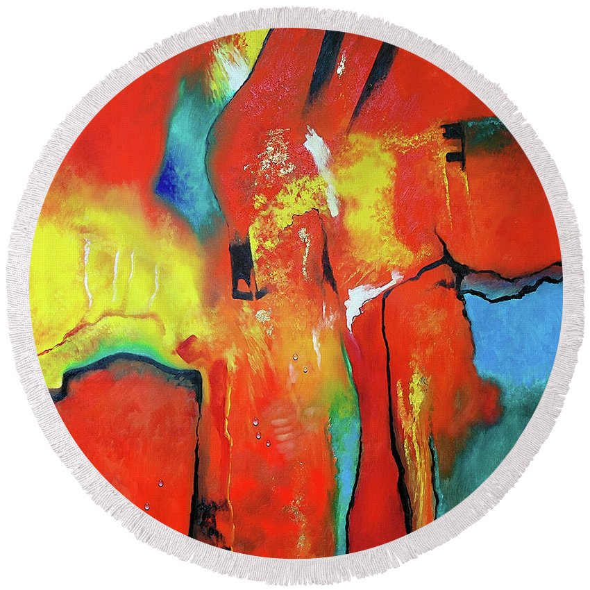 Abstract Round Beach Towel featuring the painting The Passage Of Power by Jan Camerone