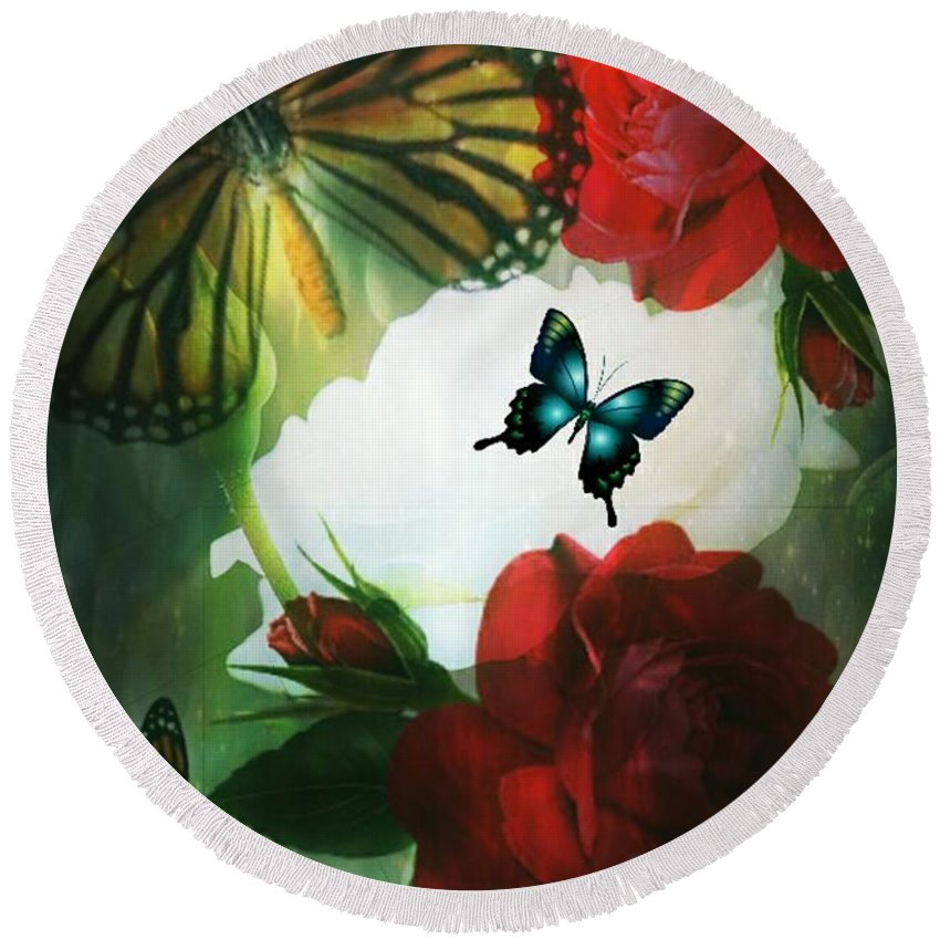 Love Blossoms Round Beach Towel featuring the digital art Love Blossoms by Maria Urso