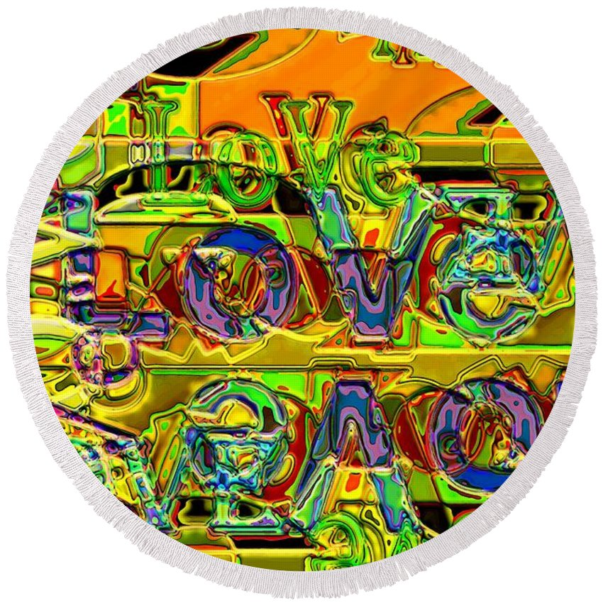 Abstract Round Beach Towel featuring the digital art Love Contest by Ron Bissett