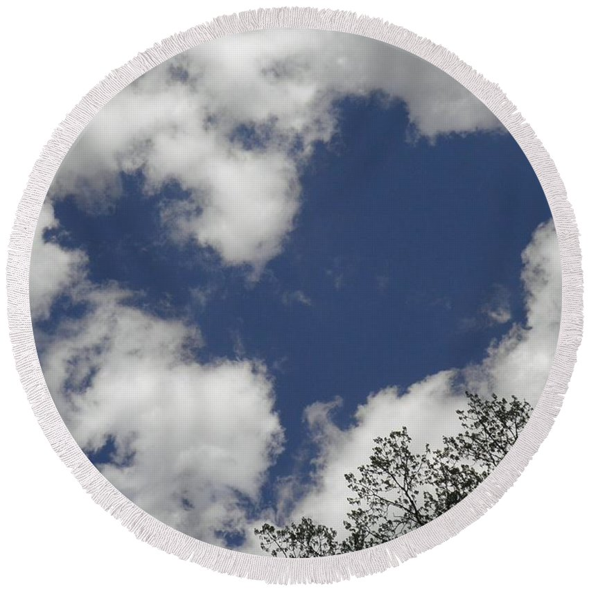 Sky Round Beach Towel featuring the photograph Love From Above by T Cook