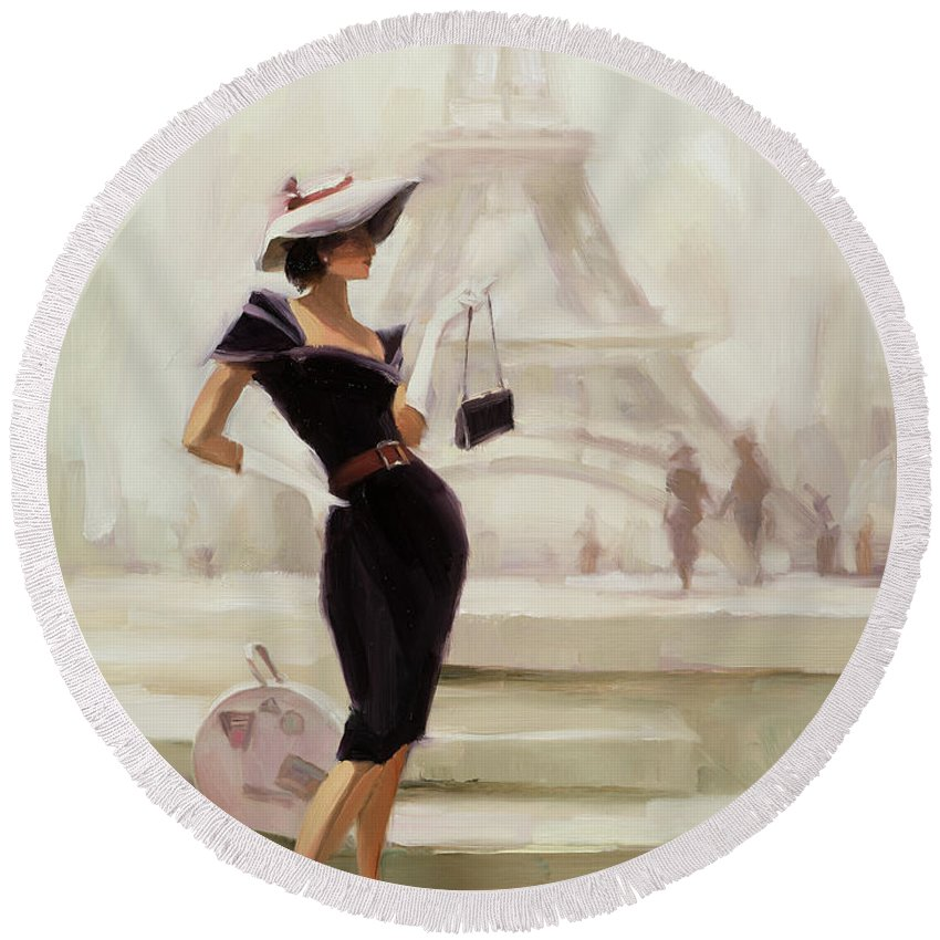 Paris Round Beach Towel featuring the painting Love, From Paris by Steve Henderson