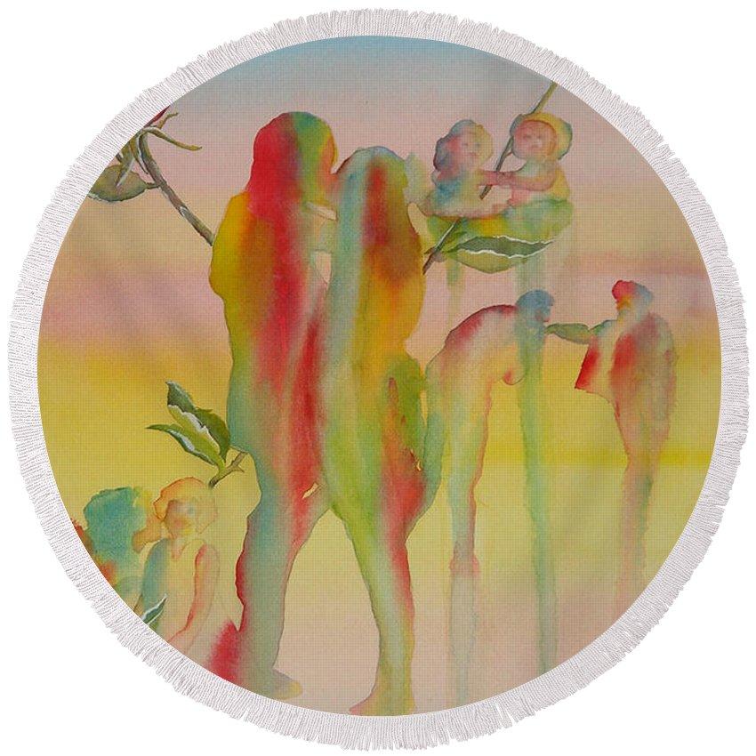 Love Round Beach Towel featuring the painting Love Is Eternal by Debbie Lewis
