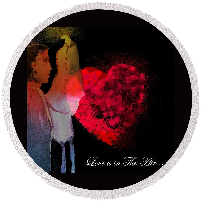 Love Round Beach Towel featuring the painting Love Is In The Air by Miki De Goodaboom