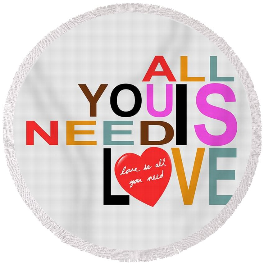 Love Round Beach Towel featuring the digital art Love by Mal Bray