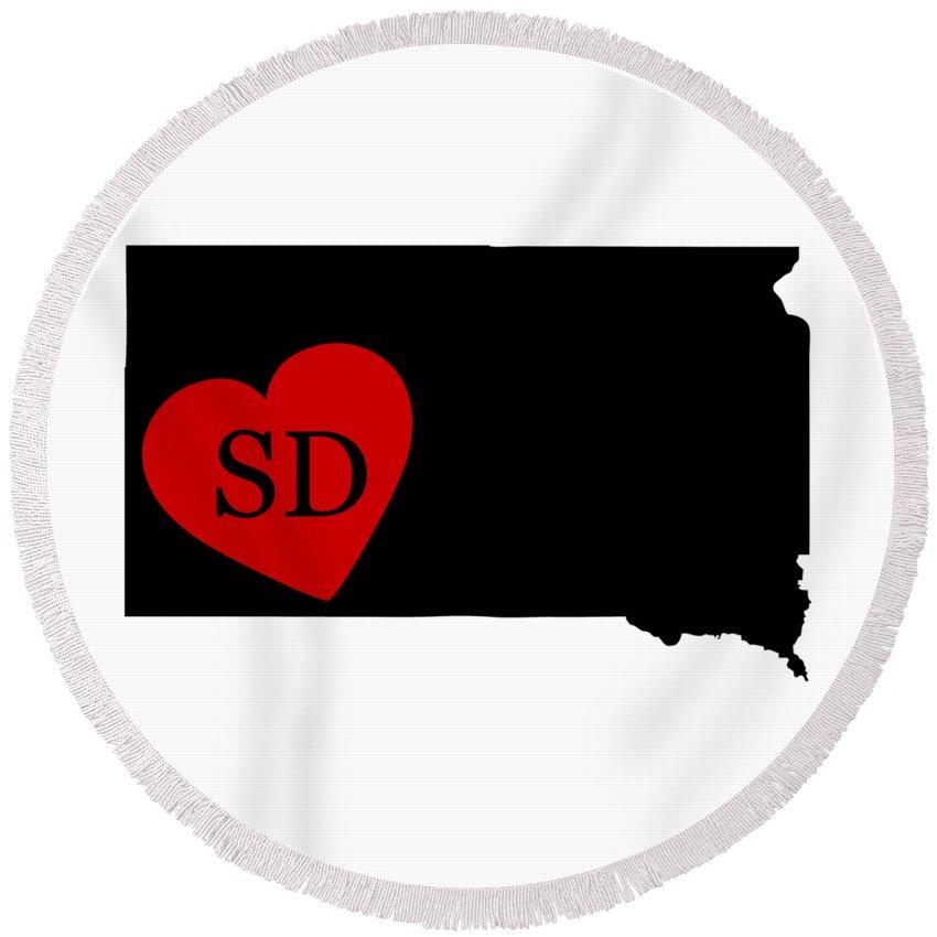 South Dakota Round Beach Towel featuring the digital art Love South Dakota Black by Custom Home Fashions