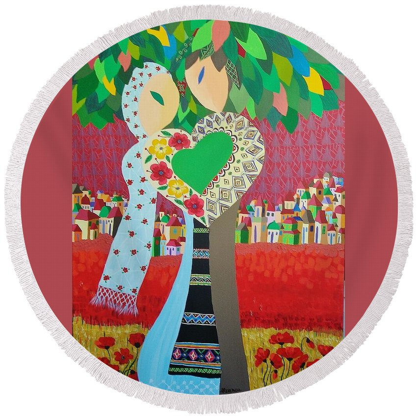 Folk Round Beach Towel featuring the painting Love Statement by Mimi Revencu