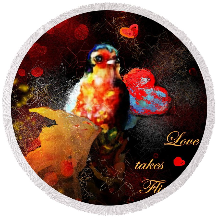 Love Round Beach Towel featuring the painting Love Takes Flight by Miki De Goodaboom