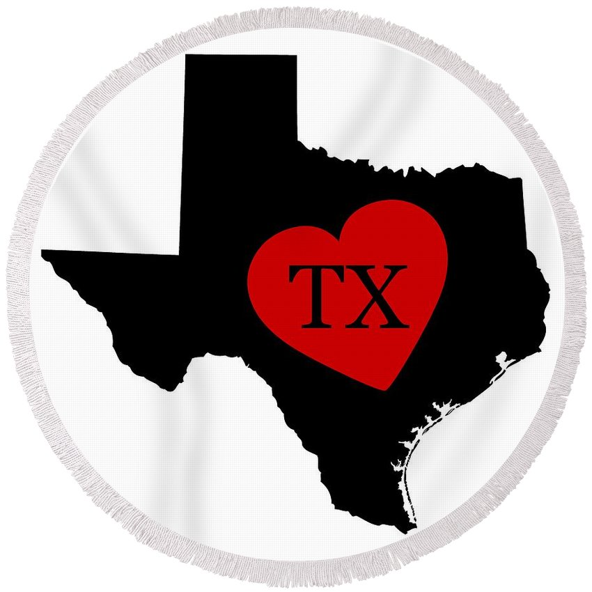 Utah Round Beach Towel featuring the digital art Love Texas Black by Custom Home Fashions
