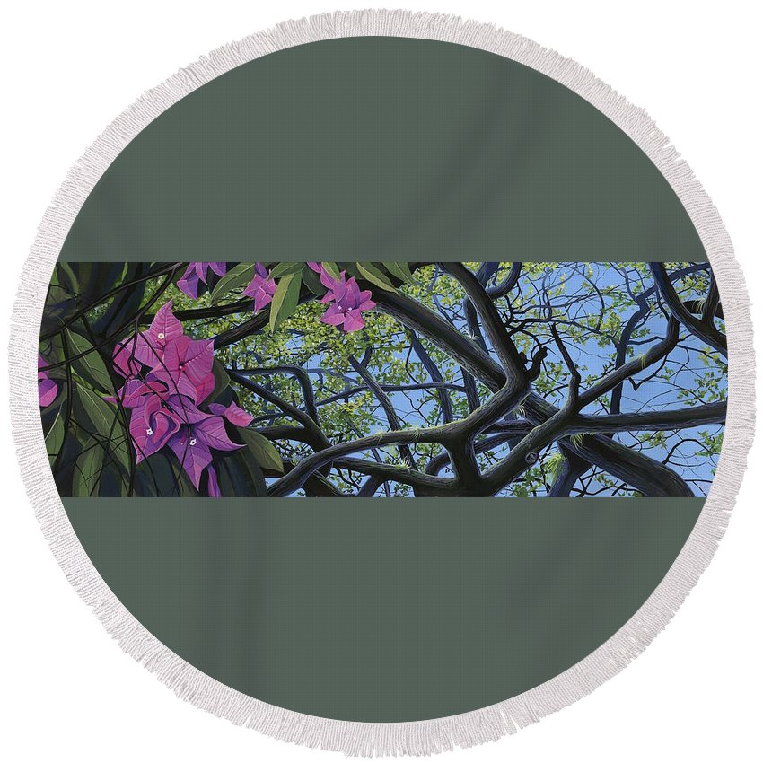 Bougainvillea Round Beach Towel featuring the painting Love Voodoo by Hunter Jay