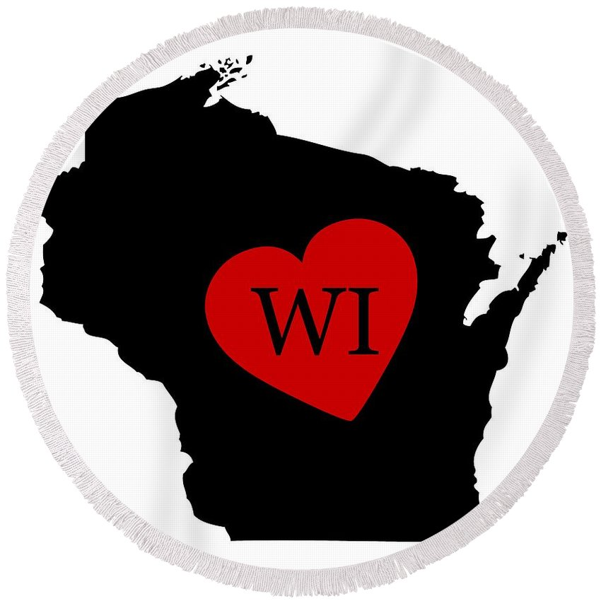 Wisconsin Round Beach Towel featuring the digital art Love Wisconsin Black by Custom Home Fashions