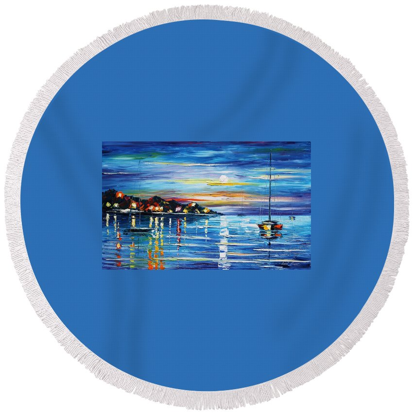 Afremov Round Beach Towel featuring the painting Love With The Sea by Leonid Afremov