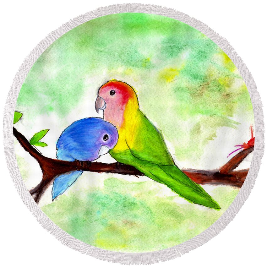 Birds Round Beach Towel featuring the painting Lovebirds by Lucy Lu