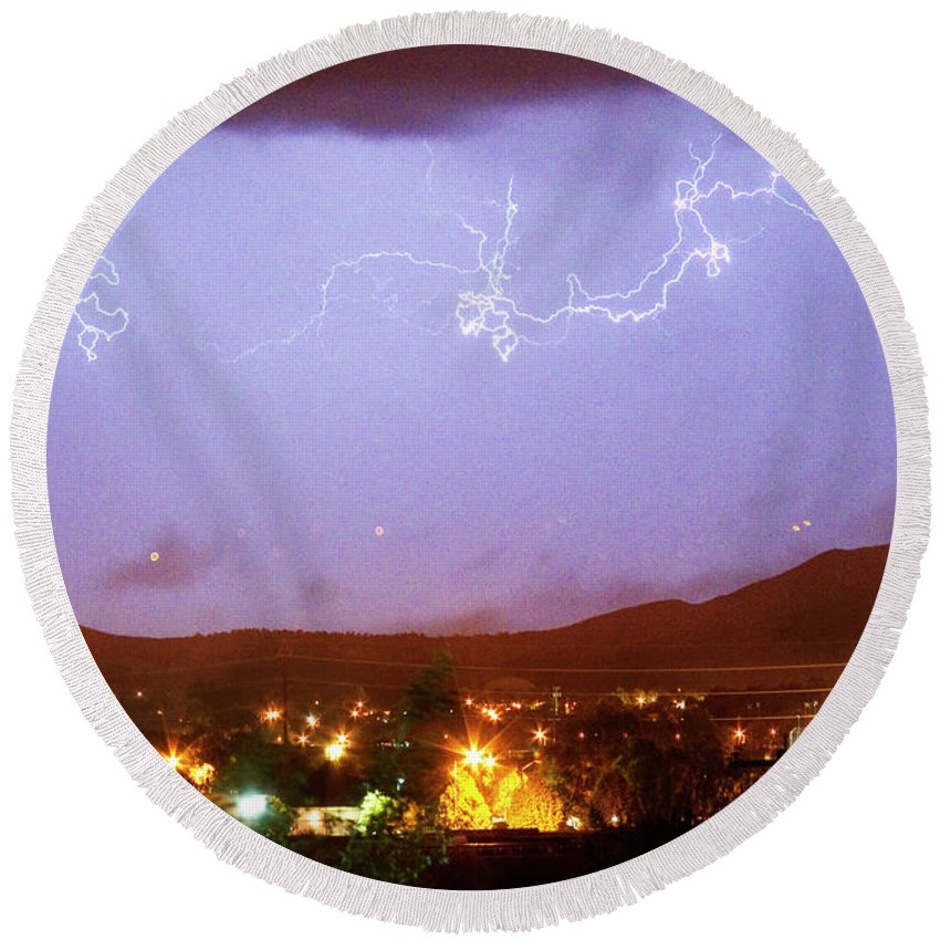 Boulder County Round Beach Towel featuring the photograph Loveland Colorado Front Range Foothills Lightning Thunderstorm by James BO Insogna