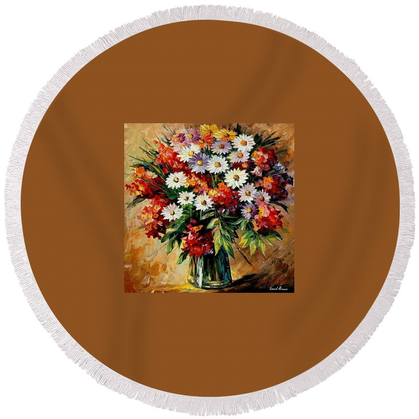 Still Life Round Beach Towel featuring the painting Lovely Bouquet by Leonid Afremov