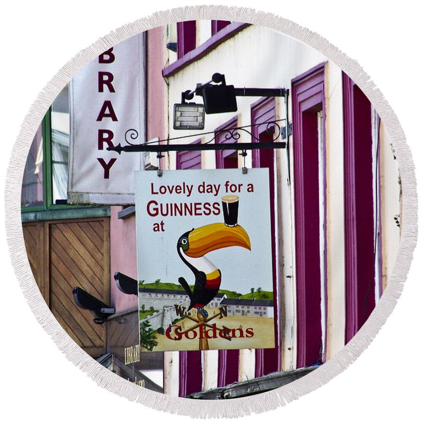 Irish Round Beach Towel featuring the photograph Lovely Day For A Guinness Macroom Ireland by Teresa Mucha