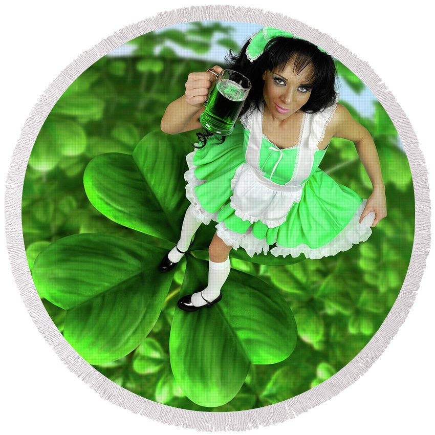 Green Round Beach Towel featuring the photograph Lovely Irish Girl With A Glass Of Green Beer by Maxim Images Prints