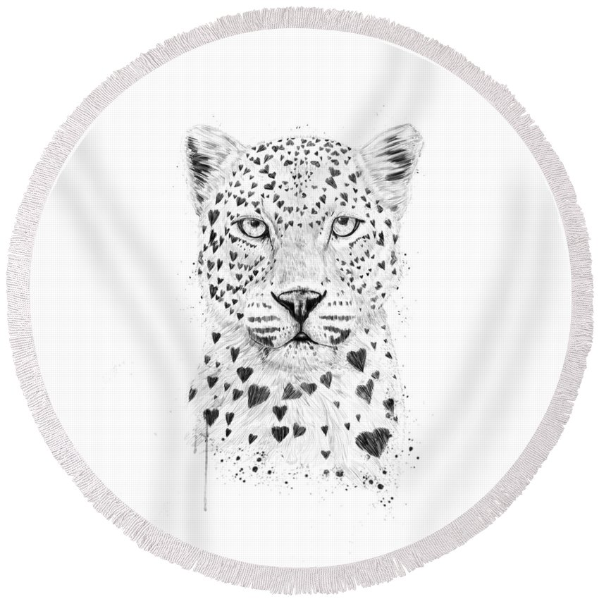 Leopard Round Beach Towel featuring the drawing Lovely leopard by Balazs Solti