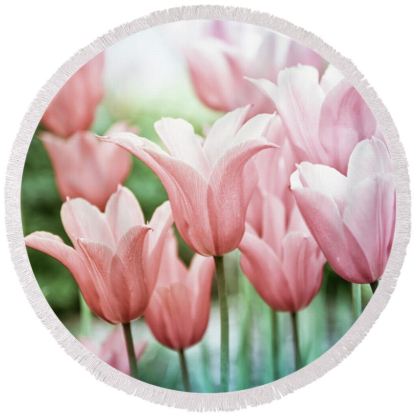Romance Round Beach Towel featuring the photograph Lovely Tulips by Maria Heyens