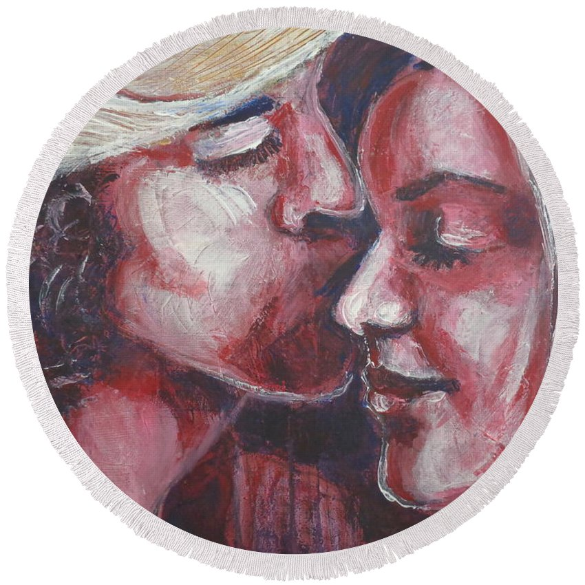 Original Round Beach Towel featuring the painting Lovers - Amore by Carmen Tyrrell