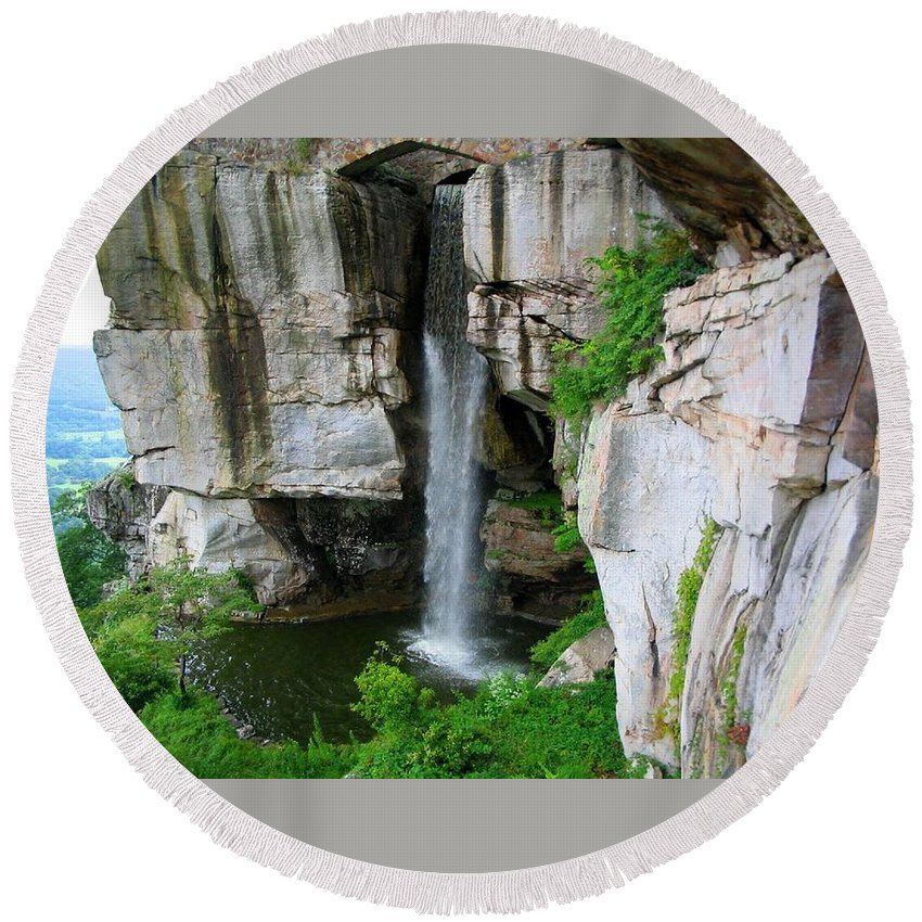 Tennessee Round Beach Towel featuring the photograph Lover's Leap Waterfall by April Patterson