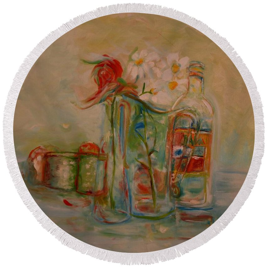 Rose Round Beach Towel featuring the painting Lovers Picnic by Jack Diamond
