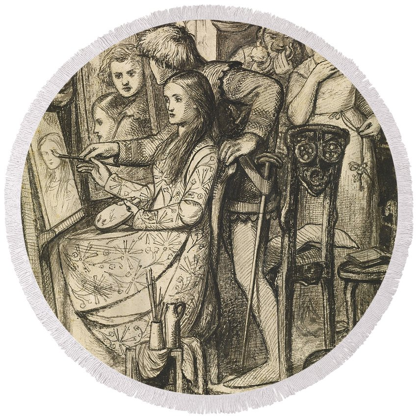 Dante Gabriel Rossetti Round Beach Towel featuring the drawing Love's Mirror Or A Parable Of Love by Dante Gabriel Rossetti