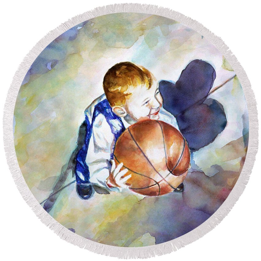 Watercolor Round Beach Towel featuring the painting Loves the Game by Shannon Grissom