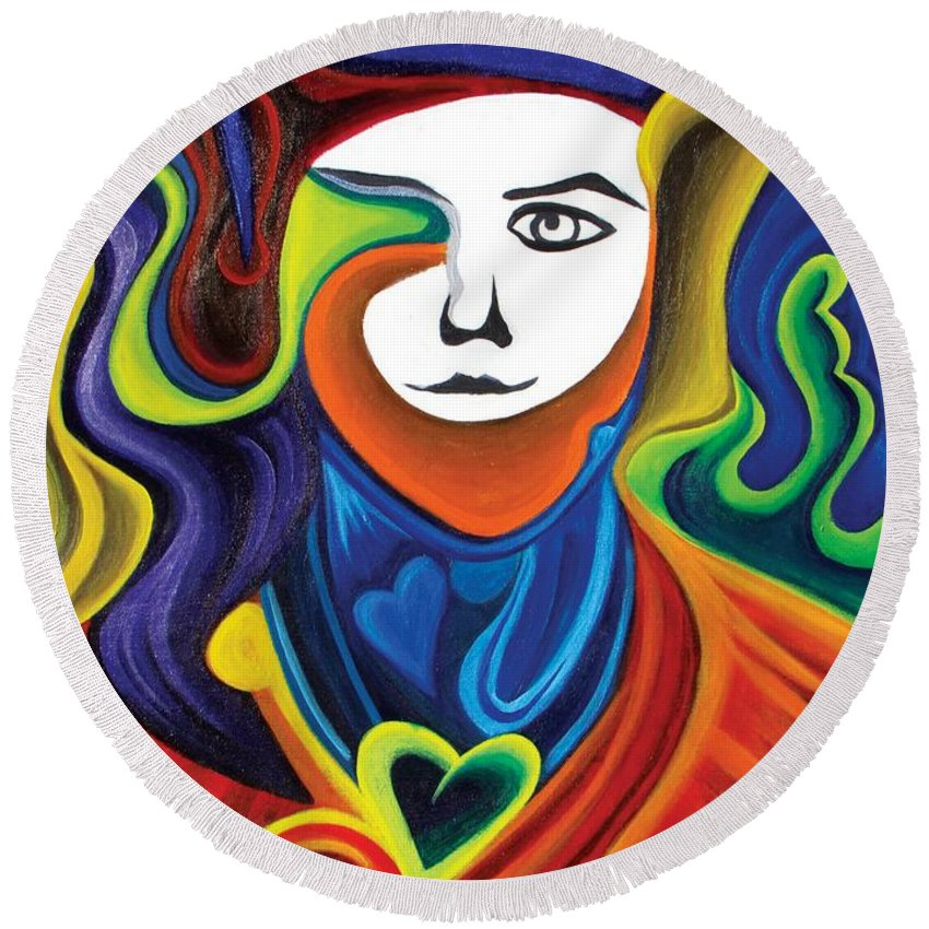 Man Round Beach Towel featuring the painting Loving Man by Leo Mystic