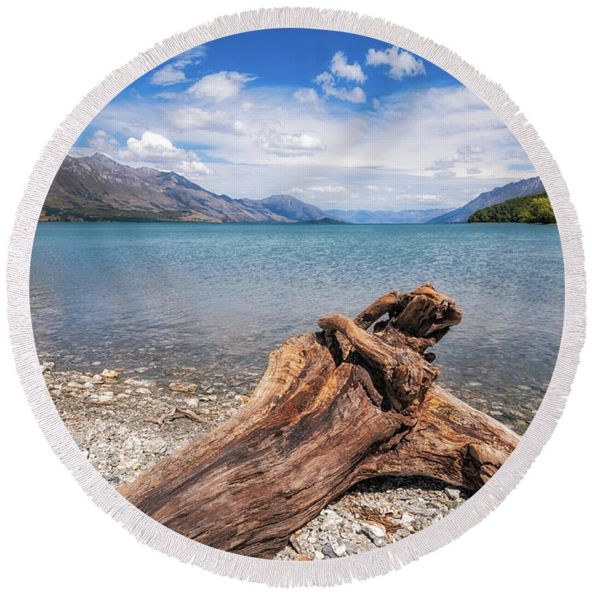Dart Round Beach Towel featuring the photograph Low Angle View From The Rocky Dart River Bank At Kinloch, Nz by Daniela Constantinescu