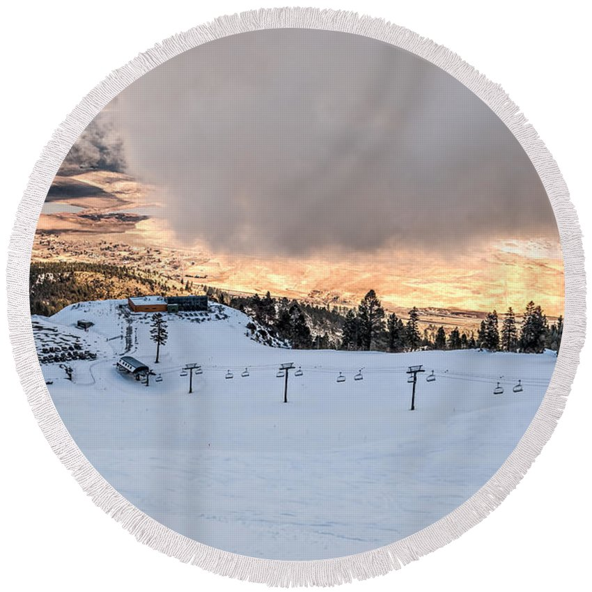 Activity Round Beach Towel featuring the photograph Low Cloud by Maria Coulson