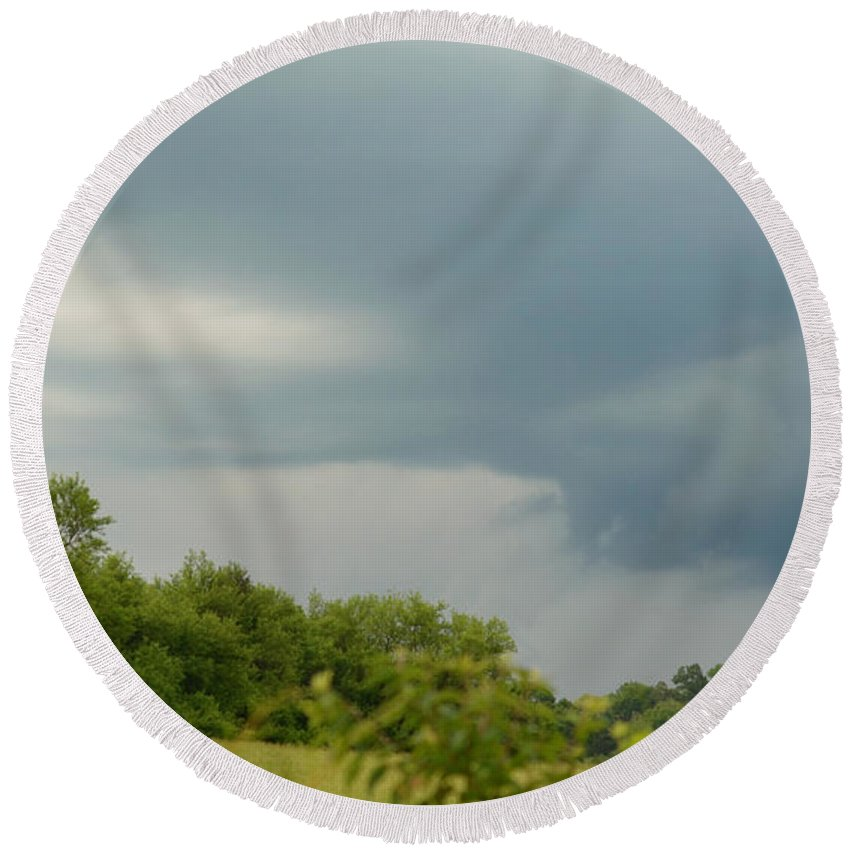 Storm Round Beach Towel featuring the photograph Low Rotating Thunderstorm by Ally White